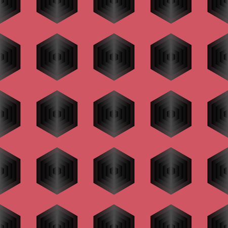 iteration: Seamless geometric abstract pattern from colorful hexagons Stock Photo