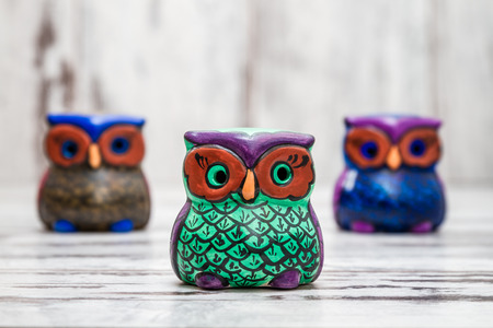 Collection of statuettes of colorful owls  on white wooden background