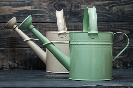wateringcan: Simple green and white metallic watering cans on blue wooden background Stock Photo
