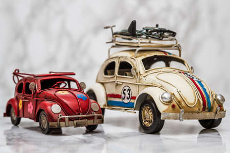 mini car: Classic mini car models on white marble background