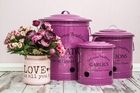 Stock Photo   Vintage Purple Potato, Onion And Garlic Storage Containers