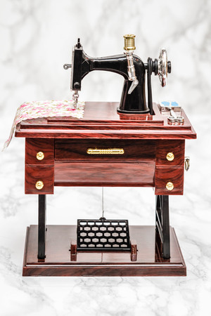 Music Box With A Shape Of Vintage Sewing Machine On White Stock Impressive Sewing Machine Music Box