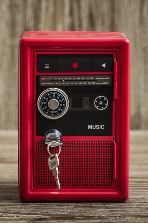 Metal lock toy box bank safe with cassette player design