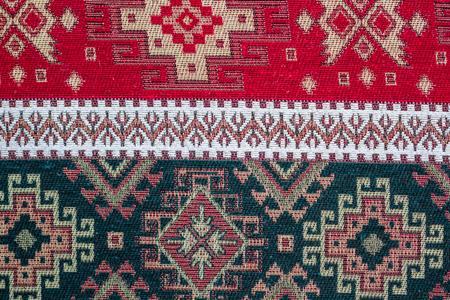 Anatolian Turkish ethnic carpet, kilim as table cloth Stockfoto