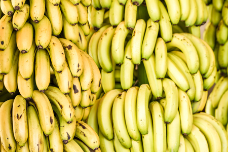 Bunch of ripe bananas in a local market