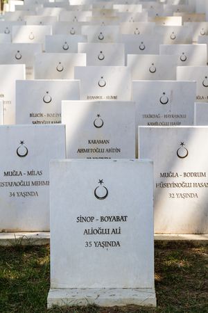 CANAKKALE, TURKEY - MAY 7, 2016: Sargi Yeri Martyrdom Memorial and Cementery