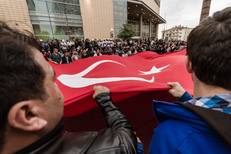 ESKISEHIR, TURKEY - MAY 14, 2014: Protests over Soma coal mine disaster at 13 May, 2014 Editorial