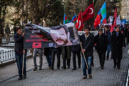 ESKISEHIR, TURKEY - FEB 22, 2015: Protests over the death of nationalist student Firat Cakiroglu Editorial