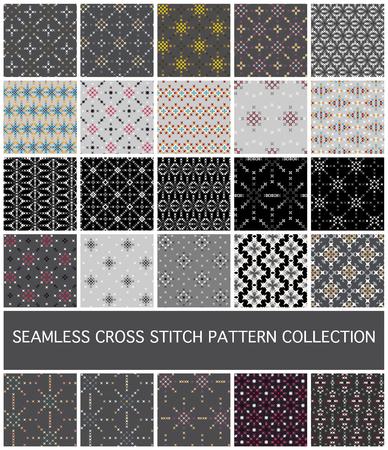 Seamless abstract cross stitch  embroidery pattern set 矢量图像