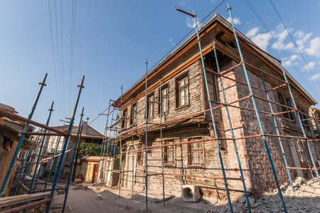 Traditional Turkish house waiting for restoration and renovation in Eskisehir