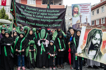 ISTANBUL / TURKEY - NOV 24, 2012: Thousands of Caferis which are a sect of Shiite Muslims gathered together to commemorate the battle of Karbala