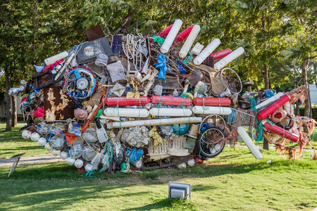 BODRUM, TURKEY - AUGUST 30, 2015: Statue made from wastes collected from the sea