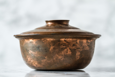 Authentic handmade Turkish copper pan with lid