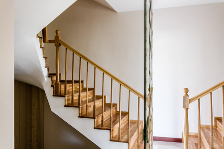 Decorative wooden interior stairs of a modern house Stockfoto
