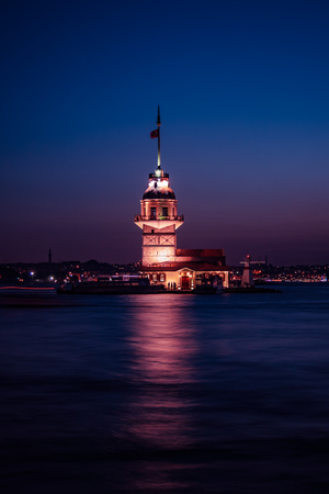 ISTANBUL, TURKEY - JUN 28, 2008: Maidens Tower of Istanbul soon after sunset, from Uskudar Editorial