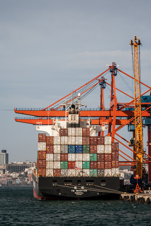 ISTANBUL, TURKEY - NOV 29, 2010: Container port and cargo ship in Haydarpasa District