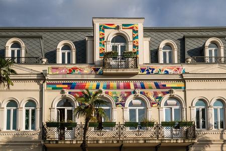 BATUMI, GEORGIA - AUGUST 13, 2013:  Soviet era apartment buildings in Batumi