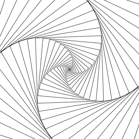 Rotating concentric shapes, optical illusion abstract pattern vector background