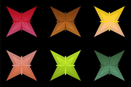 Random colorful abstract shapes from stars, on black background, vector pattern