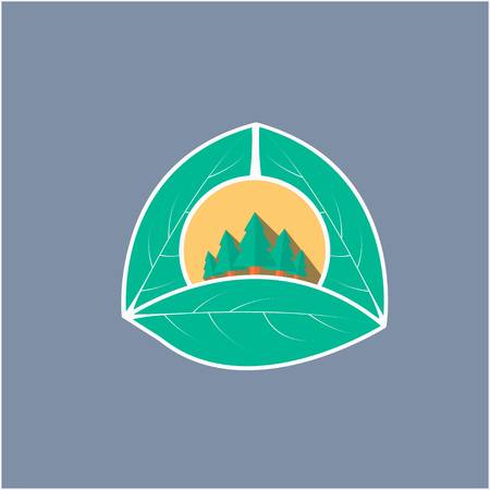 forest icon semi flat 3d