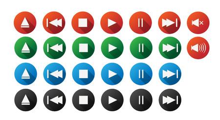play stop buttton icon set music semi flat icon