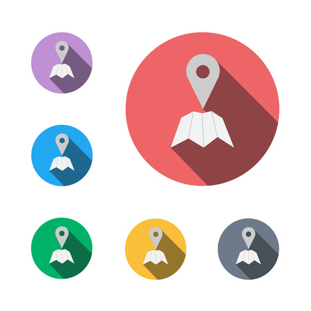 Check in icon button symbol business sign here semi flat icon shadow flat  イラスト・ベクター素材