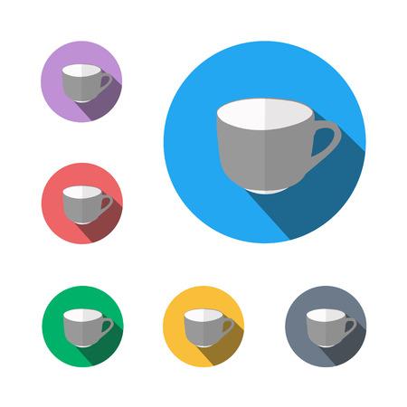 Icon button symbol tea cup semi flat icon shadow flat,  イラスト・ベクター素材