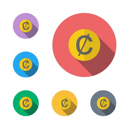 Cent icon button symbol business semi flat icon  イラスト・ベクター素材