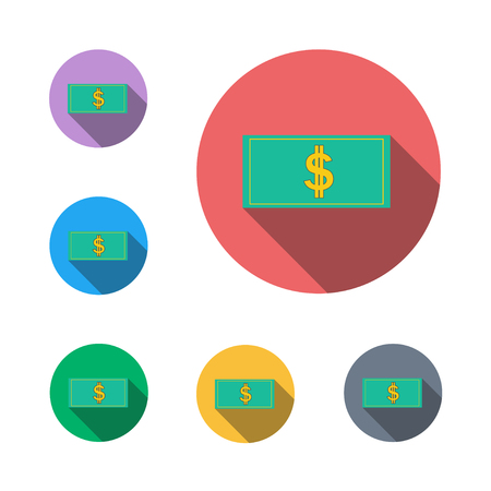 Dollar icon button symbol business semi flat icon shadow flat,