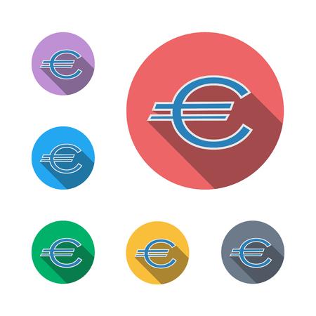 Euro money icon button symbol business business man semi flat icon shadow flat