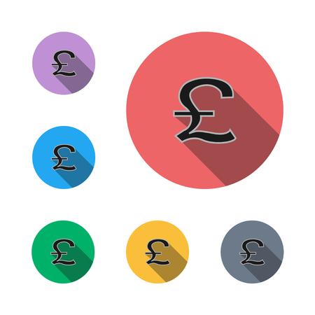 pound icon button symbol business business man semi flat icon shadow flat