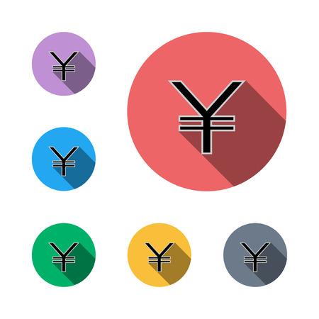 yen icon button symbol business business man semi flat icon shadow flat  イラスト・ベクター素材