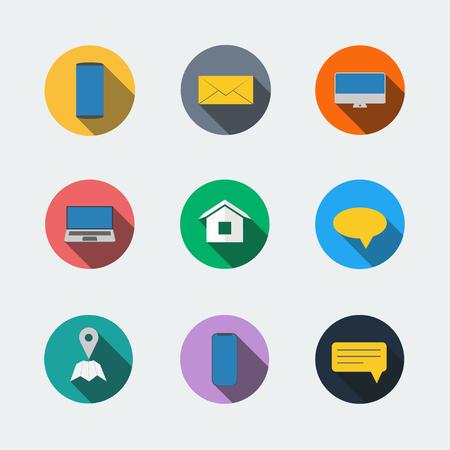 Communication set smartphone flat icon  イラスト・ベクター素材