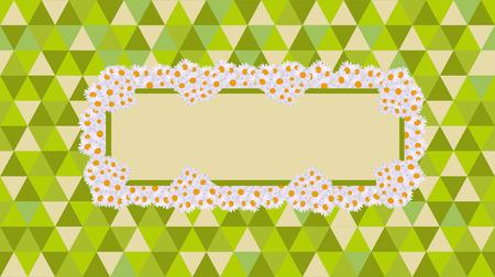 daisy card celebrations green retro Vector illustration.