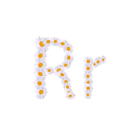 r letter daisy alphabet  イラスト・ベクター素材