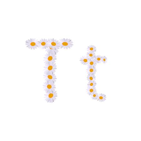 t letter daisy alphabet Illustration