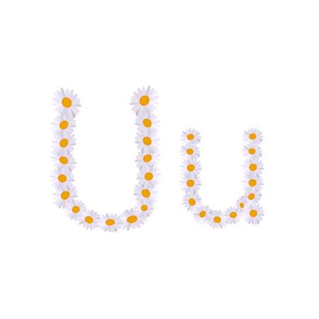 u letter daisy alphabet