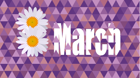 8march womens day text purple flower card