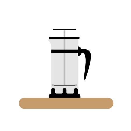 french press coffee brewing flat icon Çizim