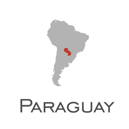 paraguay and south american continent map  イラスト・ベクター素材