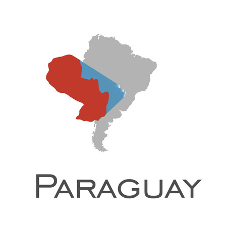 Paraguay and south american continent map