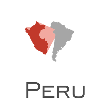 Peru and south american continent map