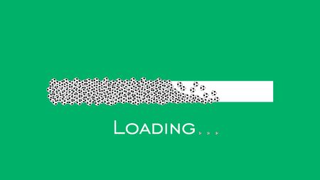 Loading bar with soccer balls on green background.  イラスト・ベクター素材