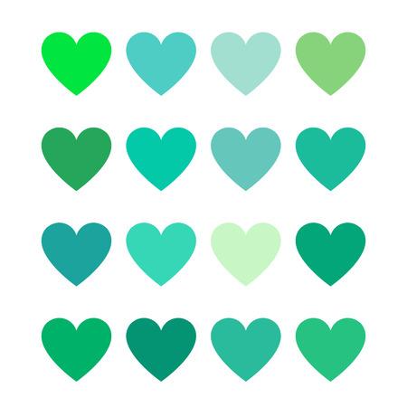 green color hearts - flat color