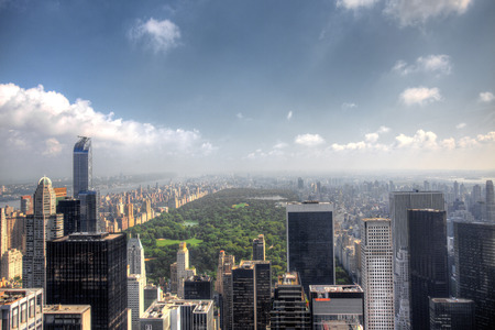 An aerial view above Central Park New York