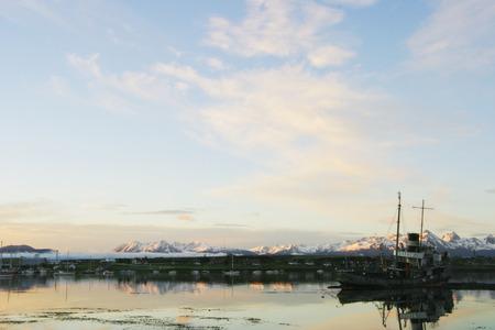 fuego: Shipwreck in the harbor of Ushuaia Tierra Del Fuego Stock Photo