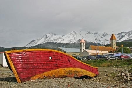 tierra: Old boat in Ushuaia Tierra del Fuego Stock Photo