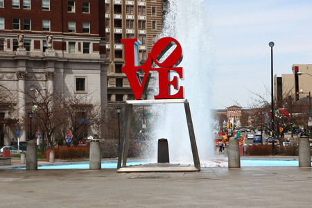 brotherly love: The Love Sculpture, Philadelphia, Pennsylvania, in front of a fountain