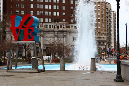 The Love Sculpture in Philadelphia, in front of a fountain