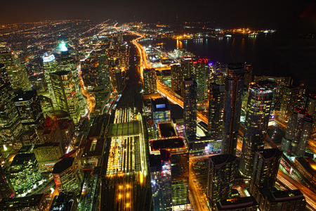 urban architecture: Aerial view of Toronto, Canada at night Stock Photo